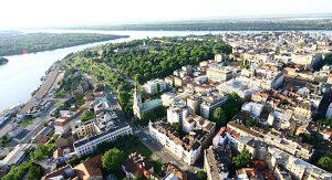 Schöne Aussicht auf Belgrad, wo die Sava in die Donau fließt