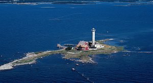 Die Leuchturminsel Garpens Fyrplats in Schweden