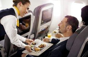 Passagier an Bord eines Flugzeugs